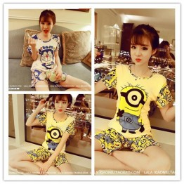 TE1134DD Doraemon cartoon print short sleeve t-shirt with short pajamas