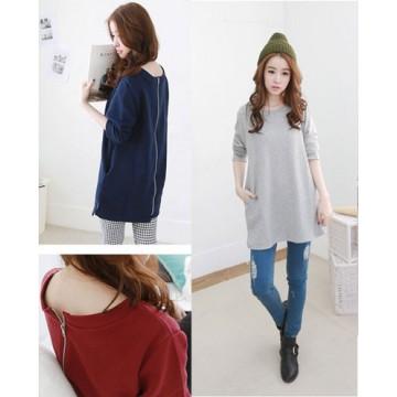 TE1158TG Korean fashion casual dot splicing long sleeve t-shirt