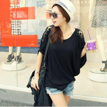 TE1238 Korean loose lace shoulder batwing sleeve T-shirt