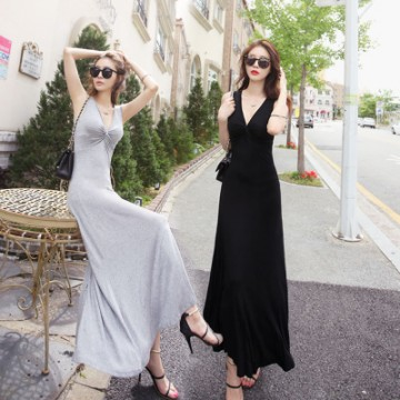 TE1835 Sexy v-neck slim maxi vest dress