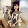 TE2501 Europe fashion beauty portrait T-shirt with slim lacing skirt
