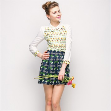 TE2601NS Embroidery doll collar long sleeve shirt