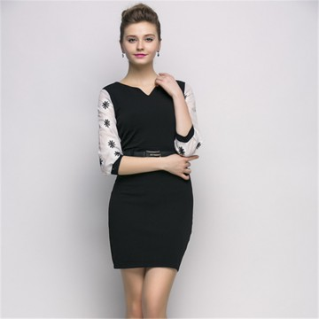 TE2602NS Temperament slim chiffon splicing sleeve long dress