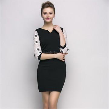 TE2602NS Temperament slim chiffon splicing sleeve long dress