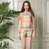 TE2606NS Europe fashion chiffon print casual tops with shorts two pieces suit