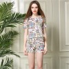 TE2607NS Europe fashion print organza tops with shorts two pieces suit