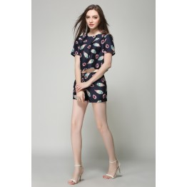 TE2608NS Europe fashion print slim tops with shorts two pieces suit
