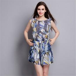 TE2610NS New style print slim casual silk sleeveless jumpsuit