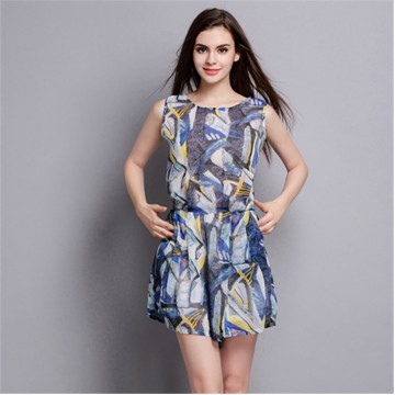 TE2610NS New style print slim casual silk sleeveless jumpsuit