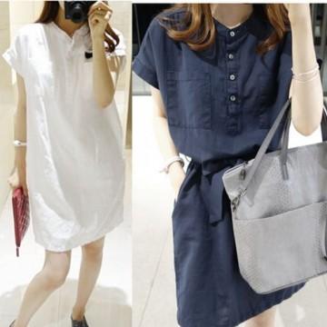 TE2612 Korean fashion pure color lacing slim wait temperament dress