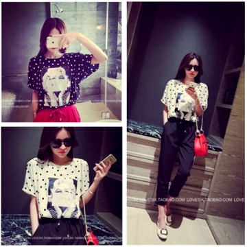 TE2635MZY Europe fashion joker dot chiffon T-shirt