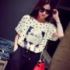 TE2635MZY Europe fashion joker dot chiffon T-shirt