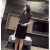 TE2649MZY Korean fashion slim stripes splicing letters print short sleeve dress