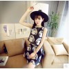 TE2652 Doll face print sleeve top with skirt