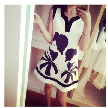 TE2671 V-neck print splicing slim sleeveless dress
