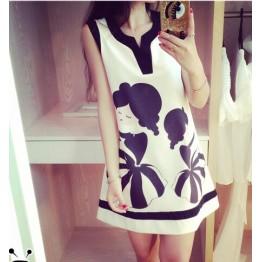 TE2671 V-neck print splicing slim sleeveless dress