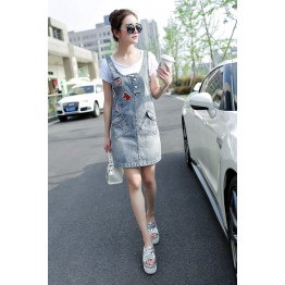 TE3163 Trendy joker denim suspender denim dress