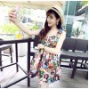 TE376 Fashion style colored portrait print slim waist dress