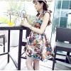 TE376 Fashion style colored portrait print slim waist dress