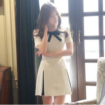 TE3915 Korean fashion sexy off shoulder lacing waist dress