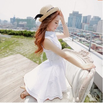 TE5605 Slim waist fresh shirt collar dress