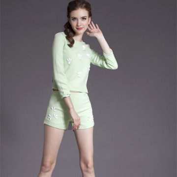 TE5803NS Fashion temperament three quarter sleeve tops with shorts