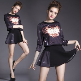 TE5810NS Europe fashion starry sky print three quarter sleeve tops with skirt