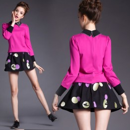 TE5812NS Embroidery cat doll collar long sleeve tops with dot skirt