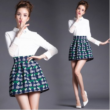 TE5816NS POLO collar lace splicing long sleeve shirt with print skirt