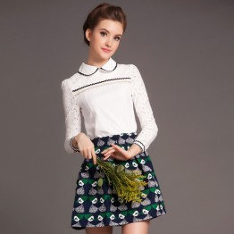 TE5818NS Lace splicing doll collar long sleeve shirt with print skirt
