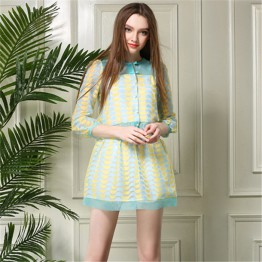 TE5824NS Europe fashion fresh organza tops with skirt two pieces suit