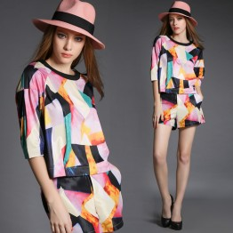 TE5826NS Personality trendy contact color geometry pattern tops with shorts