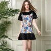 TE5829NS Europe fashion print splicing slim dress