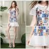 TE5829NS Europe fashion print splicing slim dress