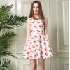 TE5830NS Europe fashion sweet cherry print sleeveless bubble dress