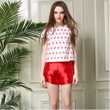TE5831NS Europe fashion animal print tops with shorts two pieces suit