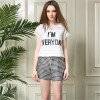 TE5832NS Europe fashion temperament letters print tops with check shorts