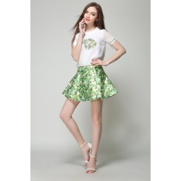 TE5833NS Europe fashion print short sleeve tops with shivering skirt two pieces suit