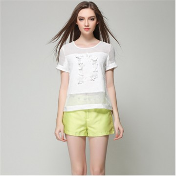 TE5835NS Hollow out grenadine splicing chiffon shirt with casual straight shorts