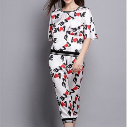 TE5840NS Europe fashion thread edge letters heart T-shirt with pants