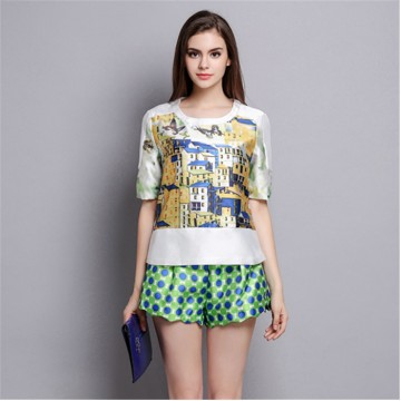 TE5841NS Print short tops with dot casual wide leg shorts