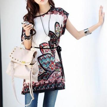 TE5965 Large size national fashion print long T-shirt