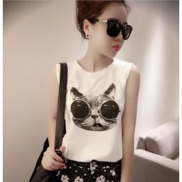 TE6091XPG Trendy sunglasses cat print sleeveless vest