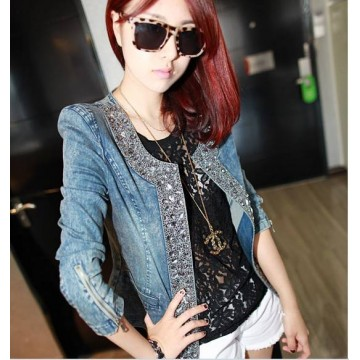 TE6092A Vintage rhinestone sequins long sleeve denim coat