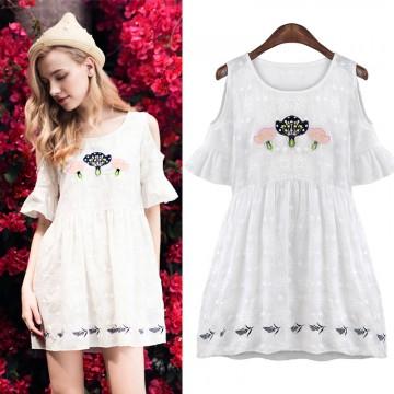 TE6092B Sexy off shoulder embroidery temperament dress