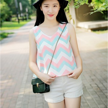 TE6113XPG Fresh wave pattern chiffon sleeveless tops