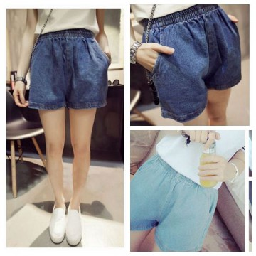 TE507AMT Summer elastic waist washing denim shorts