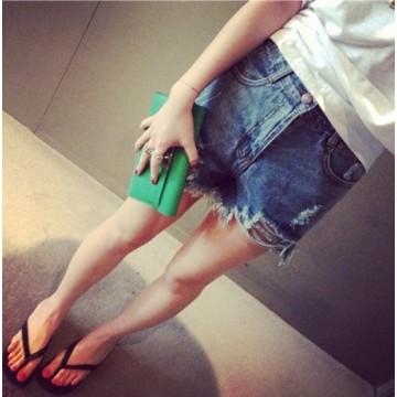 TE6136HX Summer slim joker holes denim shorts