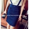 TE6232ZC Korean fashion peppy style denim suspender skirt