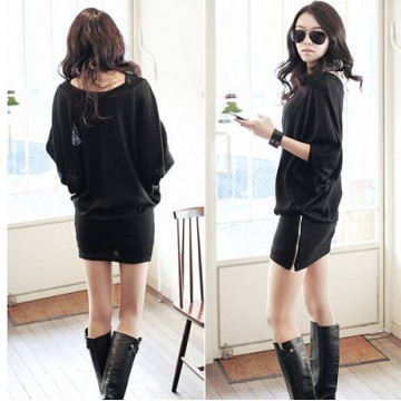 TE6304YYM Loose batwing zipper tight hip dress